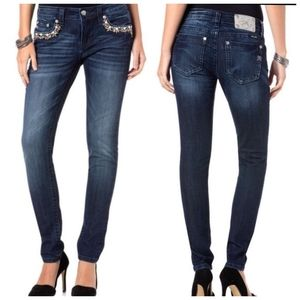 NEW Miss Me Wildflower blue skinny jeans